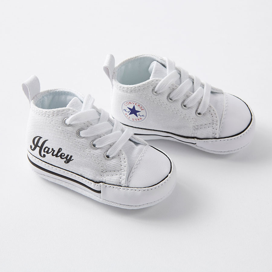 74573ec8d20 White Custom Baby Converse Crib - Nappy Head