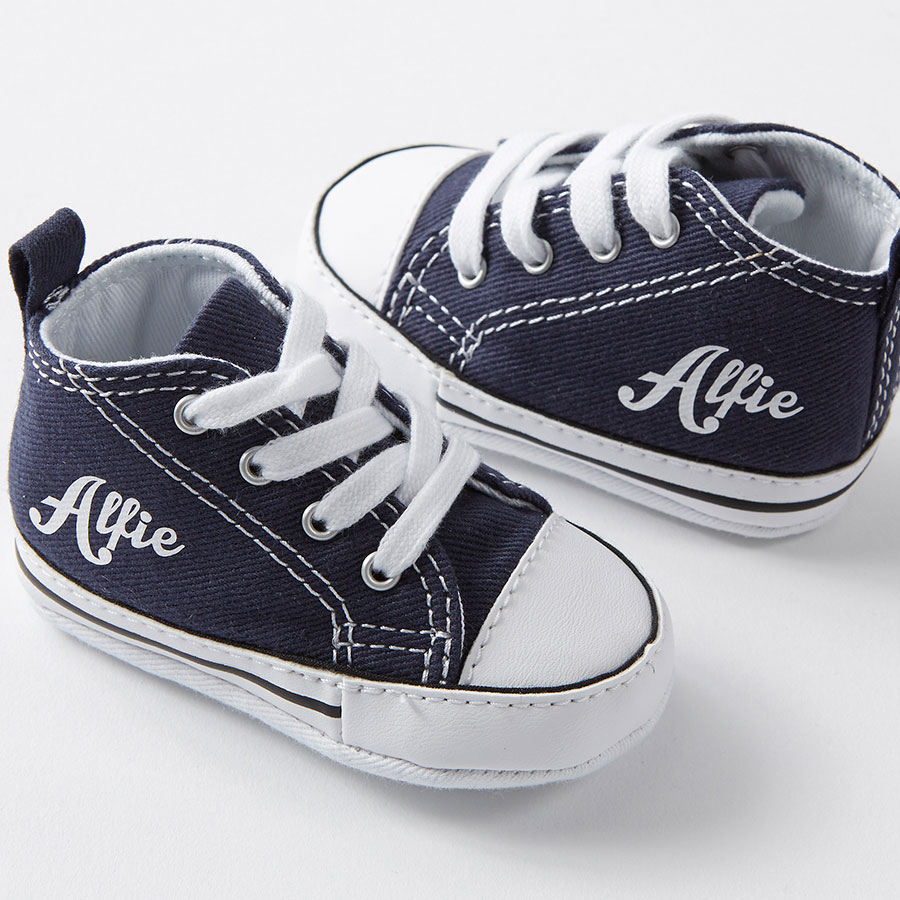87621aee3ada Navy Personalised Baby Converse Crib - Nappy Head