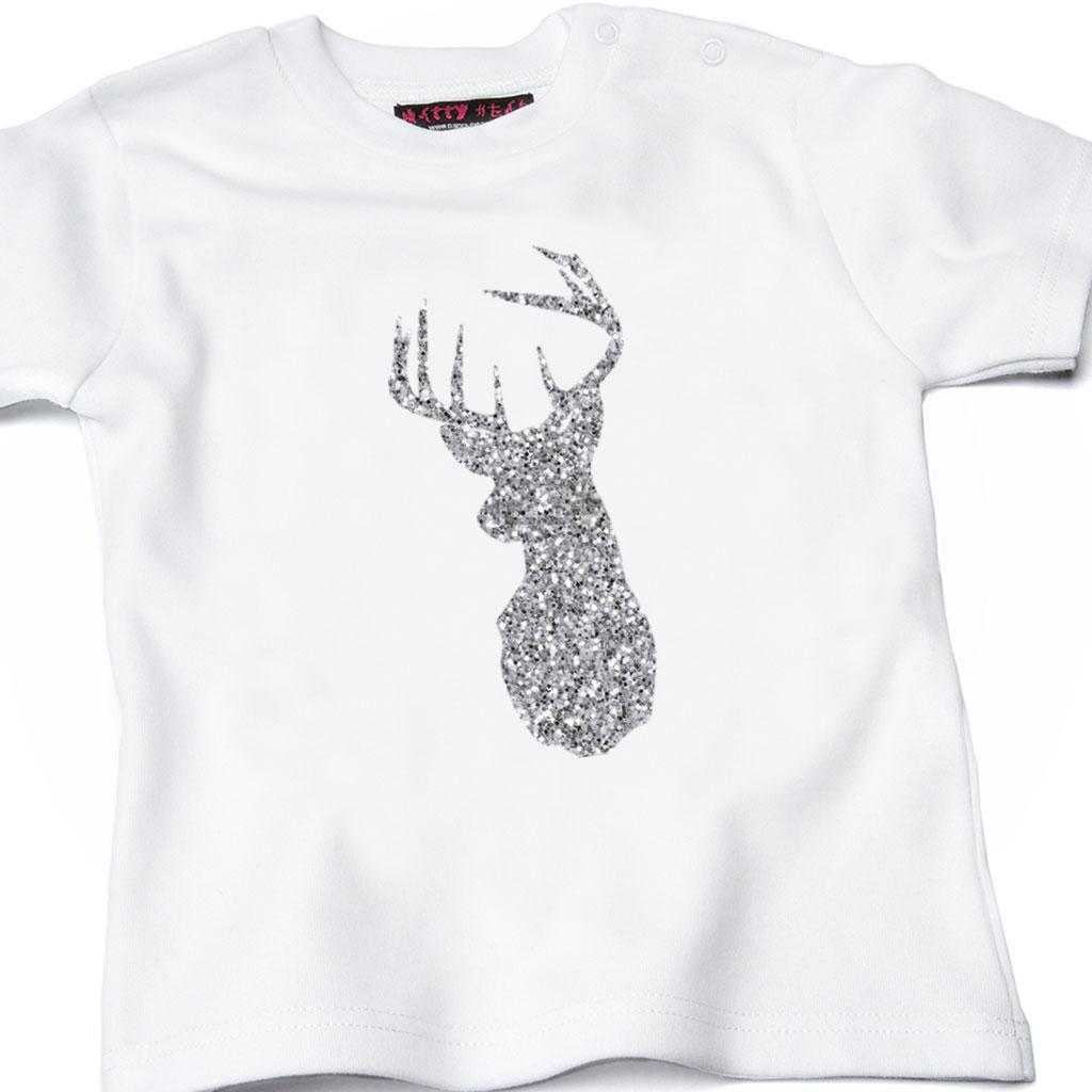 Glitter Reindeer Kids Christmas T-shirt