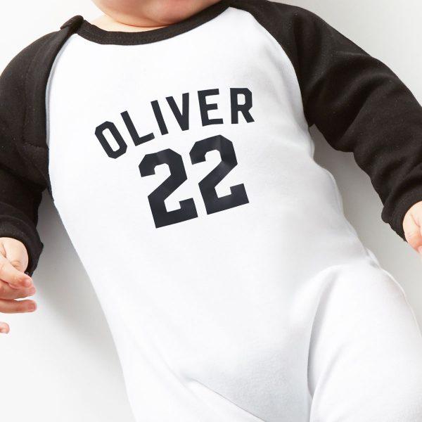 personalised-football-babygrow